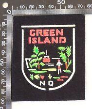 VINTAGE GREEN ISLAND NORTH QUEENSLAND SOUVENIR PATCH FELT CLOTH SEW-ON BADGE