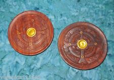 "2 Wood Incense Burner Plates New Celtic Cross 4"" dia. carved 1 cone or 4 sticks"
