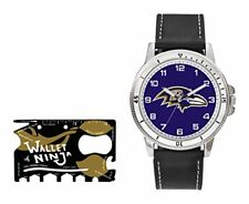 Baltimore Ravens Watch  Gift Set - NFL Brown Leather Stainless Steel