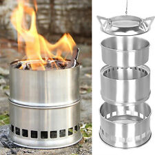 Outdoor Wood Stove Backpacking Portable Survival Wood Burning Camping BBQ Stove