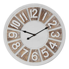 HOMETIME LARGE ROUND 2 TONE WOODEN WALL CLOCK