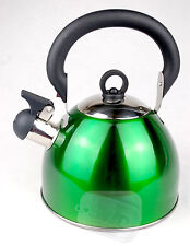 Whistling green retro kettle whiseling gas electric 2.5ltr hob folding handle