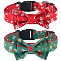 Nylon Christmas Dog Collar Bow Tie Red Green Small Medium Large Pet Puppy Collar