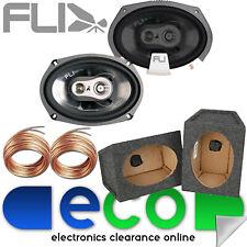 """Fli FI9 3-Way 6x9"""" 750 Watts Triaxial Car Speakers & 6x9 Grey Pod Box (Pair)"""
