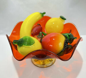 Large Viking Glass Co Assorted Fruitbowl w/ Colorful Handblown Art Glass Fruits
