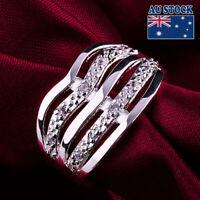 Men Women 925 Sterling Silver Filled Fashion Engagement Wedding Ring Gift Size 8