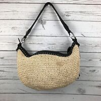 Brighton Straw Hobo Slouchy Handbag Purse Straw Black Leather Medium Size