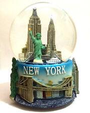 LARGE 100mm Musical New York City Snow Globe COLOR BASE SKYLINE STATUE LIBERTY