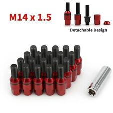 20 Steel Wheel Lug Bolts Nuts M14x1.5 Red Cone Seat Extended Stud + Key for Audi