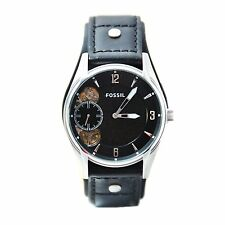 NEW FOSSIL BLACK LEATHER CUFF BAND,SILVER TONE AUTOMATIC TWIST WATCH ME1084