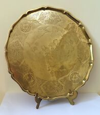 Antique Large Chinese Etched Brass Scalloped Serving Tea Tray