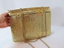 Metal mesh Handbag purse GOLD Evening bag Chain handle SHINY CLEAN STATEMENT BAG