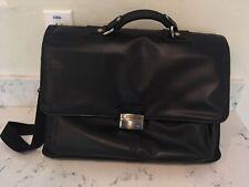 Kenneth Cole Reaction Black Leather Flap-Over Case Briefcase Laptop Bag