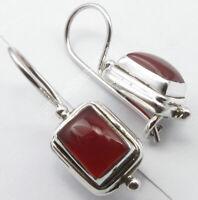 925 Solid Silver 6 x 8 mm Carnelian Drop Dangle Earrings Fancy Art Jewellery