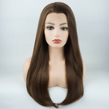 Meiyite Hair Straight Long 24inch Brown Blonde Mix Synthetic Lace Front Wigs