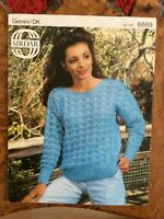 Womens knitting patterns.jumpers.size 32-40 inch bust.DK.Sirdar.lacy pattern.