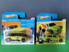 2 Hot Wheels model cars, Volkswagen Type 181 & Brasilia, VW green