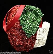 2007 Avon Red Fabric Apple Ornament with Red Beads - Great Teacher Gift!
