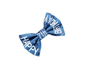 Personalised Dog Cat Bow Tie - Blue Puppy Design 'Happy *Any* Birthday -5 sizes