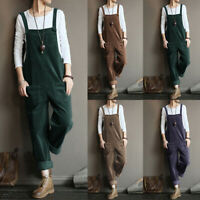 UK Womens Corduroy Dungarees Wide Leg Baggy Playsuits Jumpsuits Loose Trousers