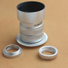 Fujian 35mm f/1.7 CCTV cine lens for M4/3 / MFT Mount&Adapter bundle+hood silver