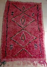 VINTAGE Rosa Marocchina Handmade boucherouite Rag Tappeto * 126 x 83cm