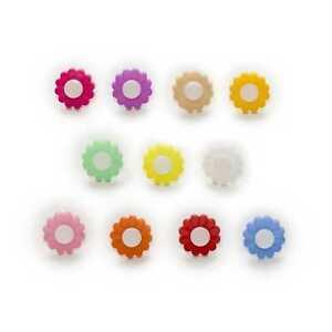 50pcs Shank Flower Shape Nylon Buttons Sewing Scrapbooking Cloth Home Decor 15mm