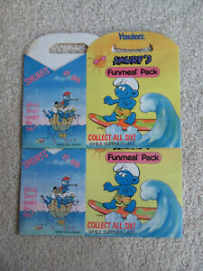 1990 Hardees Funmeal Pack Boxes - Smurf's (2 boxes) (surfing, fishing)