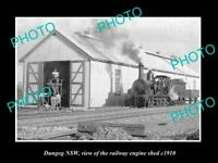 OLD POSTCARD SIZE PHOTO OF DUNGOG NSW THE RAILWAY ENGINE SHED c1910