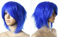 COSPLAY Short Wig LAYERED BLUE FLIP OUT STYLE Y#618