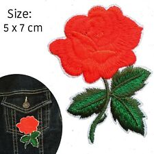 Rose Iron on patch  - flower blossom stem leaves love symbol iron-on patches