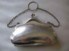 Antique Victorian Art Nouveau EPNS Silver Green Card Case Clam Finger Ring Purse