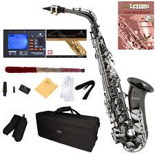 Mendini Black Nickel Body w/ Silver Keys Alto Saxophone Sax +Tuner+Book ~MAS-BNN