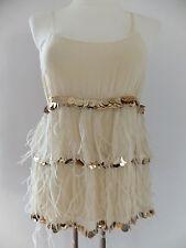 Patrizia Pepe Top Shirt puder nude beige 38-40 neu m. Etikett  Pailletten Federn