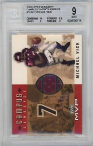 2001 UD MVP Michael Vick CAMPUS CLASSICS USED JERSEY GRADED BGS 9 MINT RC ROOKIE