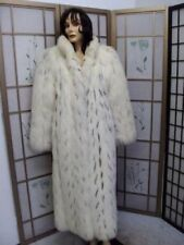 EXCELLENT WHITE FOX AND BADGER FUR COAT WOMEN WOMAN SZ 6