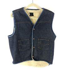 Vintage Sears Denim Vest Lined Mens Large Tall Blue Western Cowboy