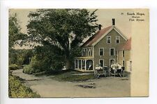 South Hope ME Maine (Knox Co) Fisk House, people in carriages, rural street
