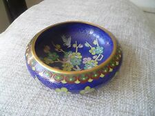 vintage old beautiful white birds flowers Chinese enamel cloisonne bowl