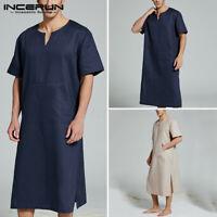 Hommes 100% coton chemisier baggy caftan vêtements de nuit t-shirt hauts chemise