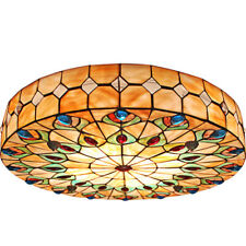 Peacock Tail Green Flush Mount Ceiling Light Stained Glass Handmade Chandeliers