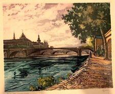 Vintage Original Color Etching Notre Dame Pencil Signed Marcel Harang