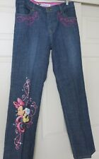 New Disney Store Blue Jeans Size 12 Glitter Minnie Mouse Embellished Pockets
