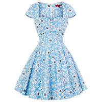 Hell Bunny Daphne Blue Floral Vintage Retro 1950s Mini Summer Sun Party Dress