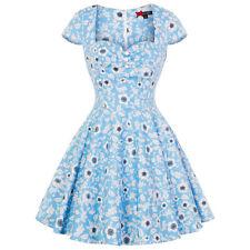 Hell Bunny Daphne Blue Floral Vintage Retro 1950s Mini Summer Sun Party Dress