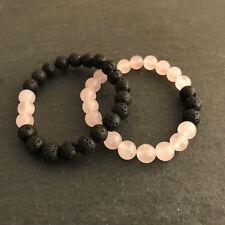 """7"""" Grounded Love Opposites Attract Set Lava Rock & Rose Quartz Diffuser Bracelet"""