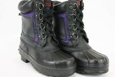 Itasca Mens Winter Snow Leather Boots Thinsulate Black Purple Size 9