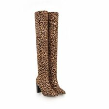 Women Sexy Leopard High Heels Nightclub Winter Over Knee Boots Shoes Size 34-43