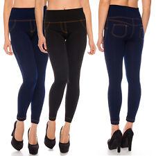 Fleece Winter Thermo-Leggings Jeans-Optik gefüttert Taille Hoch-Bund 36 38 40 42