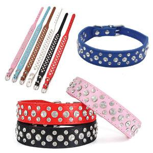 Pets Dog Cat Puppy Crystal Rhinestone Collar Tag Soft PU Leather Safety Band 1PC